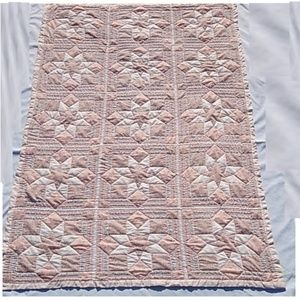 Handmade Quilt Throw Peach Floral Patchwork Star